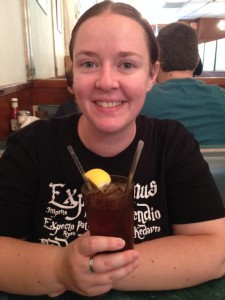 Me trying authentic American iced tea for the first time. I didn't like it. Prefer the regular, hot, British kind ;)